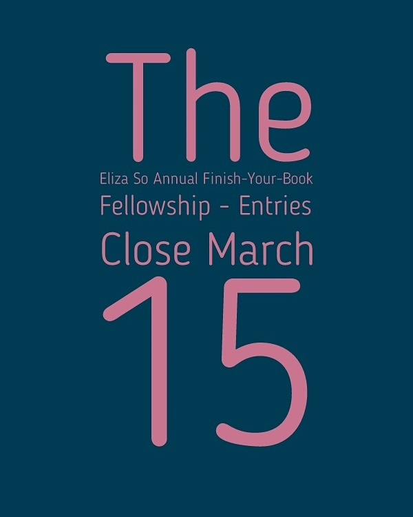 Eliza So Annual Finish-Your-Book Fellowship – Entries Close March 15